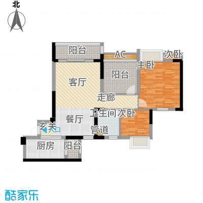 新会碧桂园90.00㎡五期花岸[亲情居]12、13、16幢标准层01户型