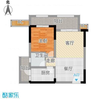 半山七号54.18㎡一期2号楼标准层B1户型