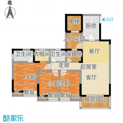 鸥鹏凤凰国际新城124.90㎡一期7号楼标准层B2户型