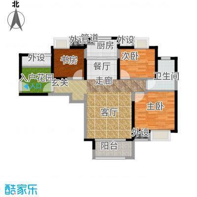 中铁滨湖名邸93.44㎡二期11栋A3户型