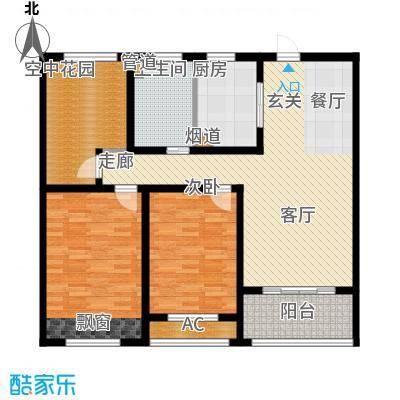 银湖花园110.00㎡2号楼1-30层中间户F户型