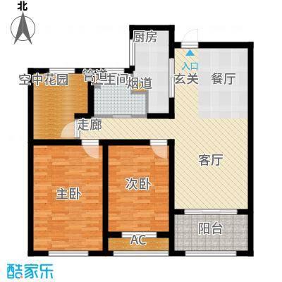 银湖花园95.00㎡4号楼、5号楼1-28层H户型