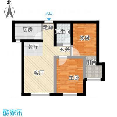 万晟御水湾77.20㎡A4#楼B户型