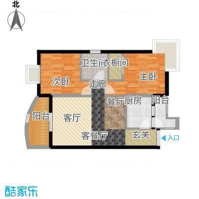 晋愉九龙湾73.83㎡13号楼0208面积7383m户型