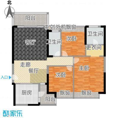 新余恒大雅苑135.88㎡2号楼1/2单元3、4号3室户型