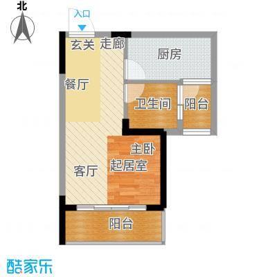 恒大名都二期22#楼一单元一居室1室户型