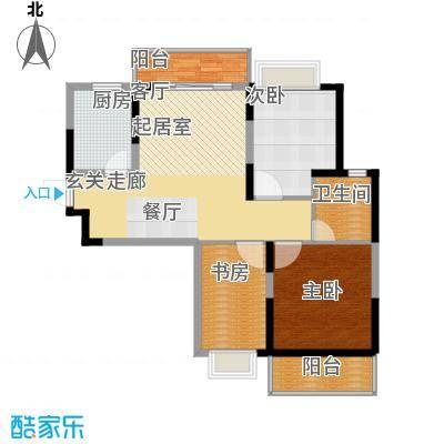 恒大名都二期22#楼一单元三居室3室户型