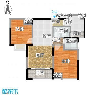 中铁滨湖名邸87.98㎡二期11栋A2户型
