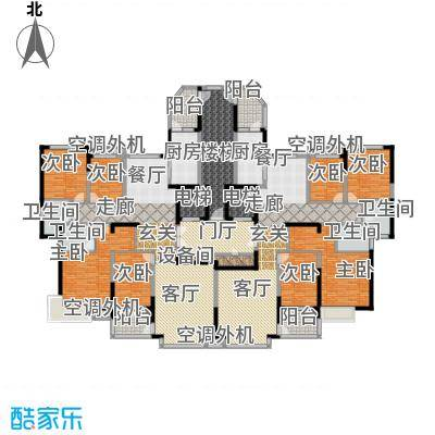 鹰潭恒大绿洲176.58㎡11号楼2单元标准层4室户型