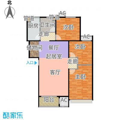 铂悦派高层106#楼标准层B1b户型