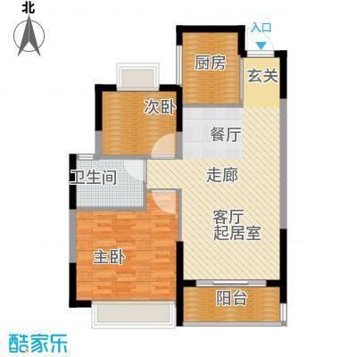 恒大名都二期22#楼一单元二居室2室户型