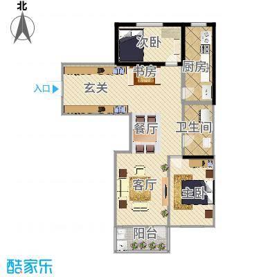 青云花园77.90㎡42号楼户型2室2厅1卫LL