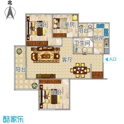B户型3房2厅1卫