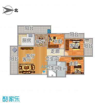 双福花园125平01户型三室两厅