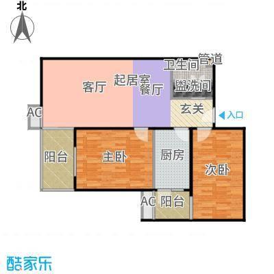 上东三角洲92.27㎡1、2、3号楼D面积9227m户型