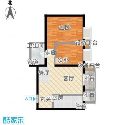 世纪东方城92.55㎡一区3号楼J户面积9255m户型