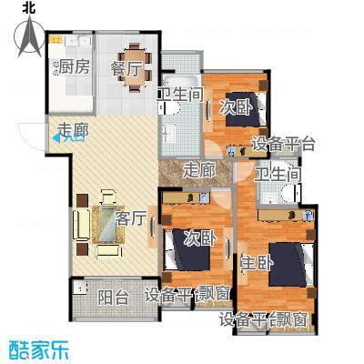 天润国际花园133.98平F户型三室两厅
