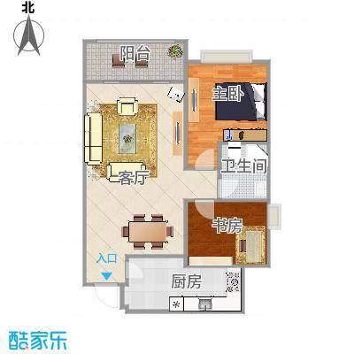 红地苑94方户型两室一厅
