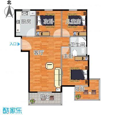 花园小区88.04㎡6期cc3户型2室2厅1卫