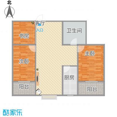 龙城苑100.12平方户型两室两厅一卫