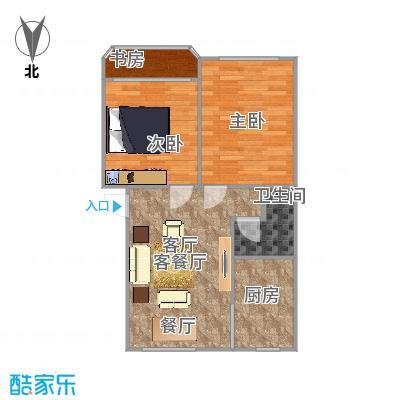 方案2仁和花苑67方户型两室两厅