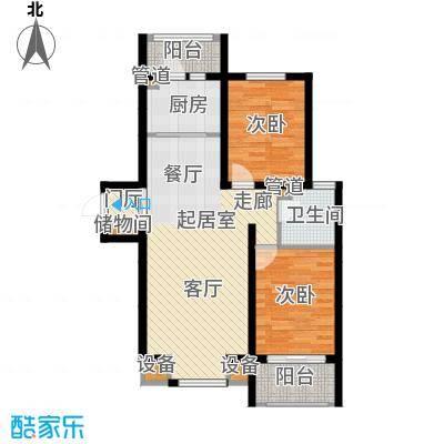 宏坤馨港家园91.07㎡E2面积9107m户型