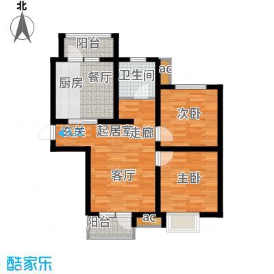 京港国际城93.11㎡高层标准层B3面积9311m户型