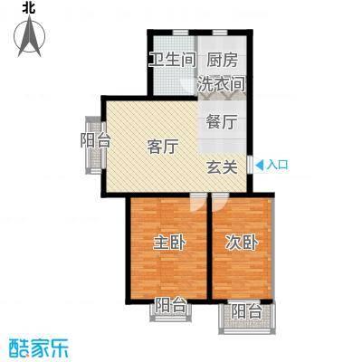 东华温馨家园89.48㎡F'面积8948m户型
