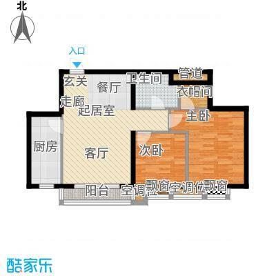丰润帝景豪庭87.68㎡1号楼--B2户面积8768m户型