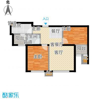 尚湖名筑74.46㎡2#、3#楼标准层面积7446m户型