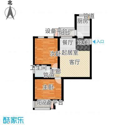六合轩府85.00㎡6号楼标准层J户面积8500m户型