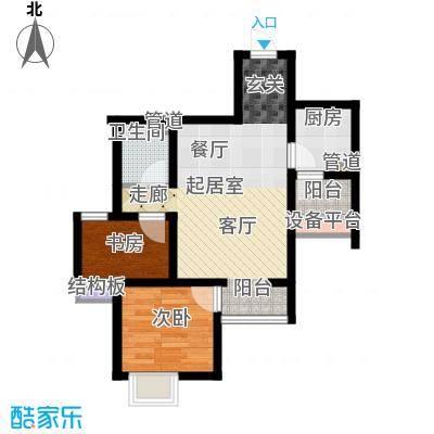 六合轩府69.00㎡6号楼标准层K户面积6900m户型