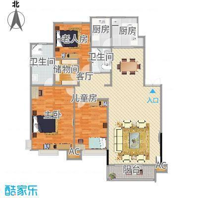 棠棣小区143平A2户型三室两厅两卫 - 副本