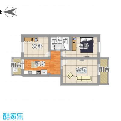 龙兴园中区2居顶层