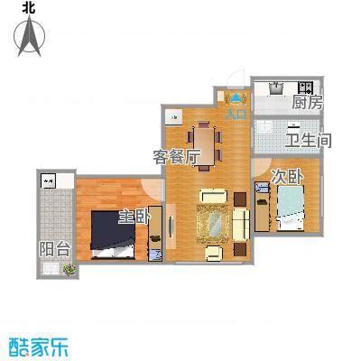 汇嘉新园实用面积57方01户型两室一厅 - 副本