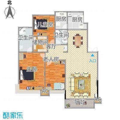 棠棣小区143平A2户型三室两厅两卫 - 副本 - 副本