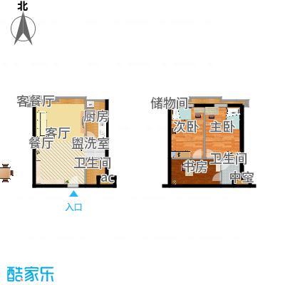 滨海浙商蓝庭国际51.59㎡一期loft标准层户型2室2厅 - 副本