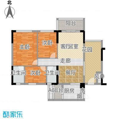 天悦城1、2幢03、04户型 111平米 三房二厅二卫户型3室2厅2卫 - 副本