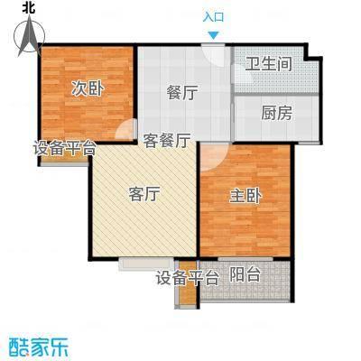 盛和嘉园87.00㎡22楼D-2户型 两室两厅一卫户型2室2厅1卫 - 副本