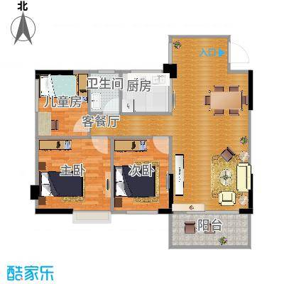 A栋05号房80.3平方三房两厅一卫一厨 - 副本