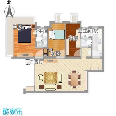 御沁园97㎡A2户型三室一厅