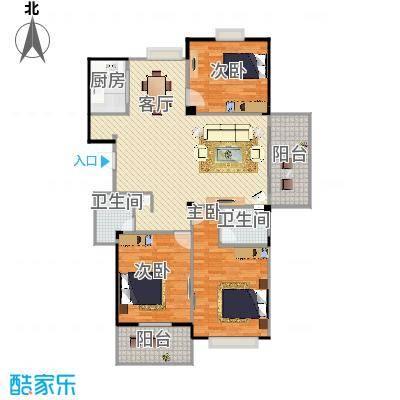 128平米3室