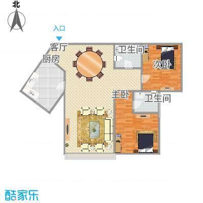 东贸国际96平米两室两厅一卫