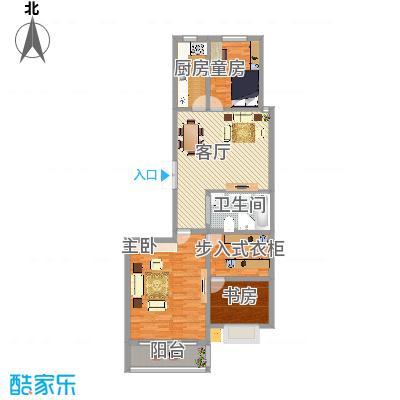 H户型130㎡三室两厅一卫