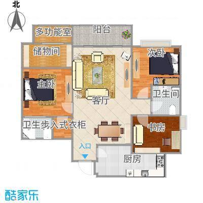 红地苑124方户型三室一厅