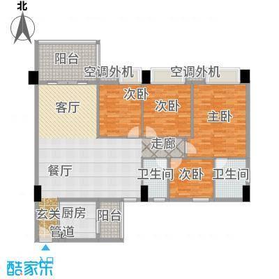 地王广场翰林166.00㎡三单元标准面积16600m户型