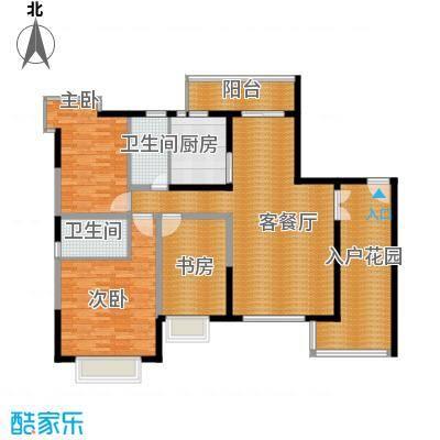 新世纪江畔湾130.86㎡B1户型3室1厅2卫1厨