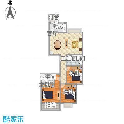 龙园小区D户型3室1厅3卫1厨