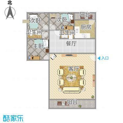 漾湖明居123.8A1户型三室两厅