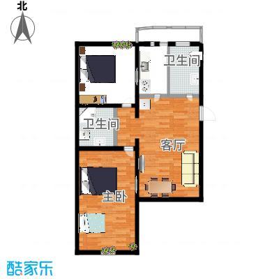 75.00㎡户型2室1厅2卫